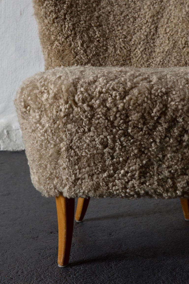 20th Century Chair Swedish Sheepskin, 1950s, Sweden For Sale