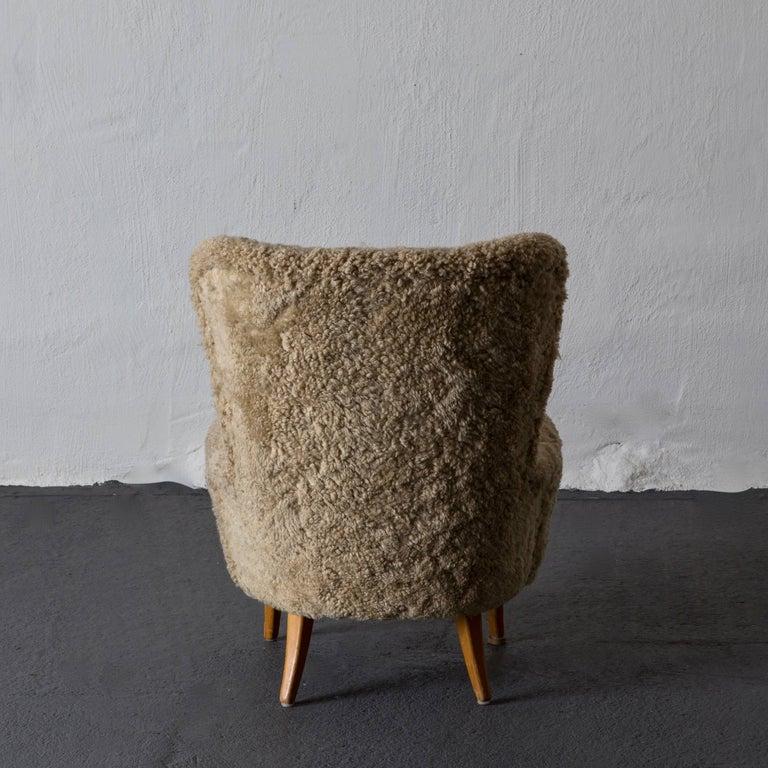 Modern Chair Swedish Sheepskin, 1950s, Sweden For Sale