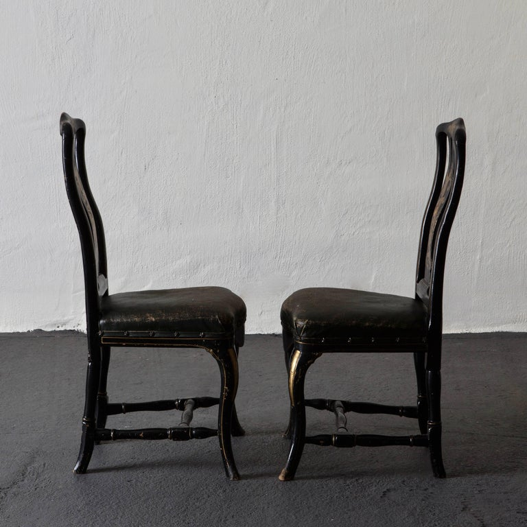 European Chairs Pair of Chinoiserie 18th Century Sweden For Sale