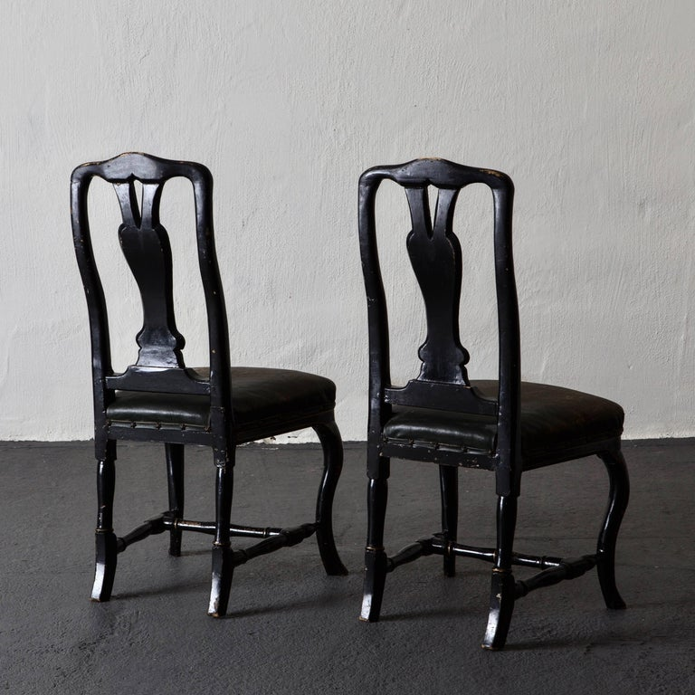 Rococo Chairs Pair of Chinoiserie 18th Century Sweden For Sale