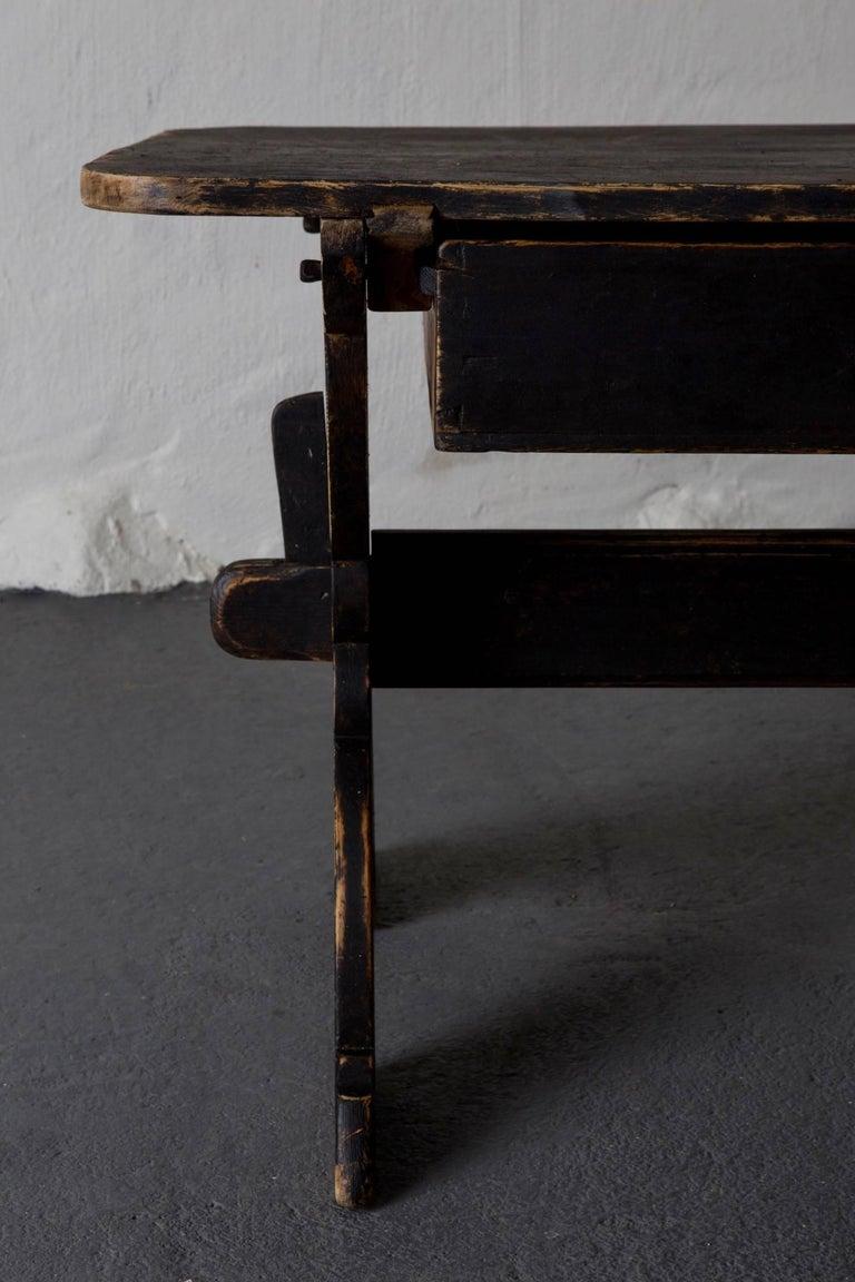 Folk Art Desk Swedish 19th Century Black Rustic Sweden For Sale