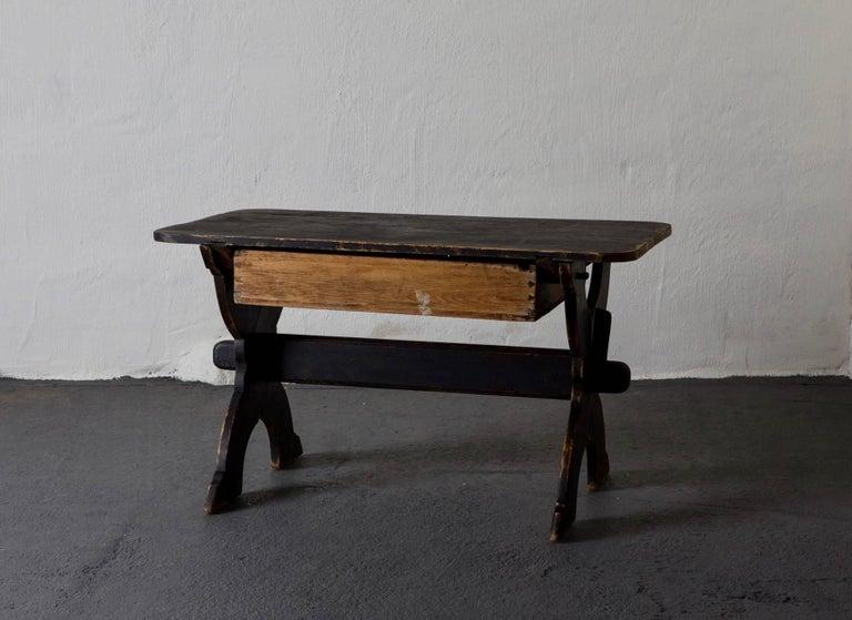 Desk Swedish 19th Century Black Rustic Sweden For Sale 1