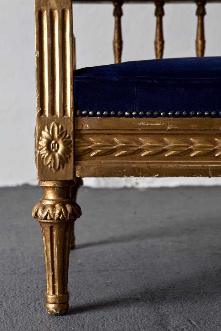 19th Century Sofa Swedish Gilded Gustavian or Neoclassical, 18th Century, Sweden For Sale