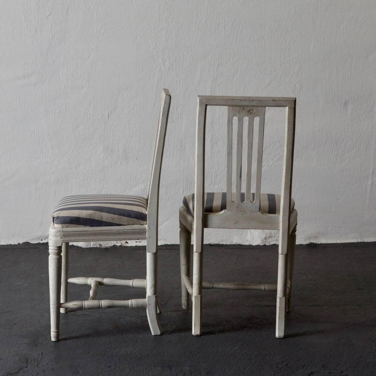 18th Century Dining Chairs Set of Six Swedish Gustavian Neoclassical White Sweden