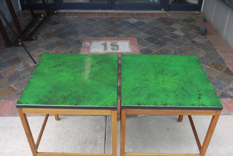 Swedish Pair of Enamel Top End Tables by P. Torneman for NK For Sale