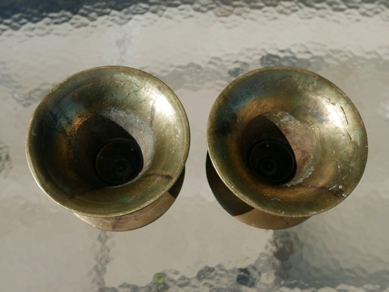 Incised Pair of 17th Century Ottoman Bronze Candlesticks In Good Condition For Sale In Kilmarnock, VA