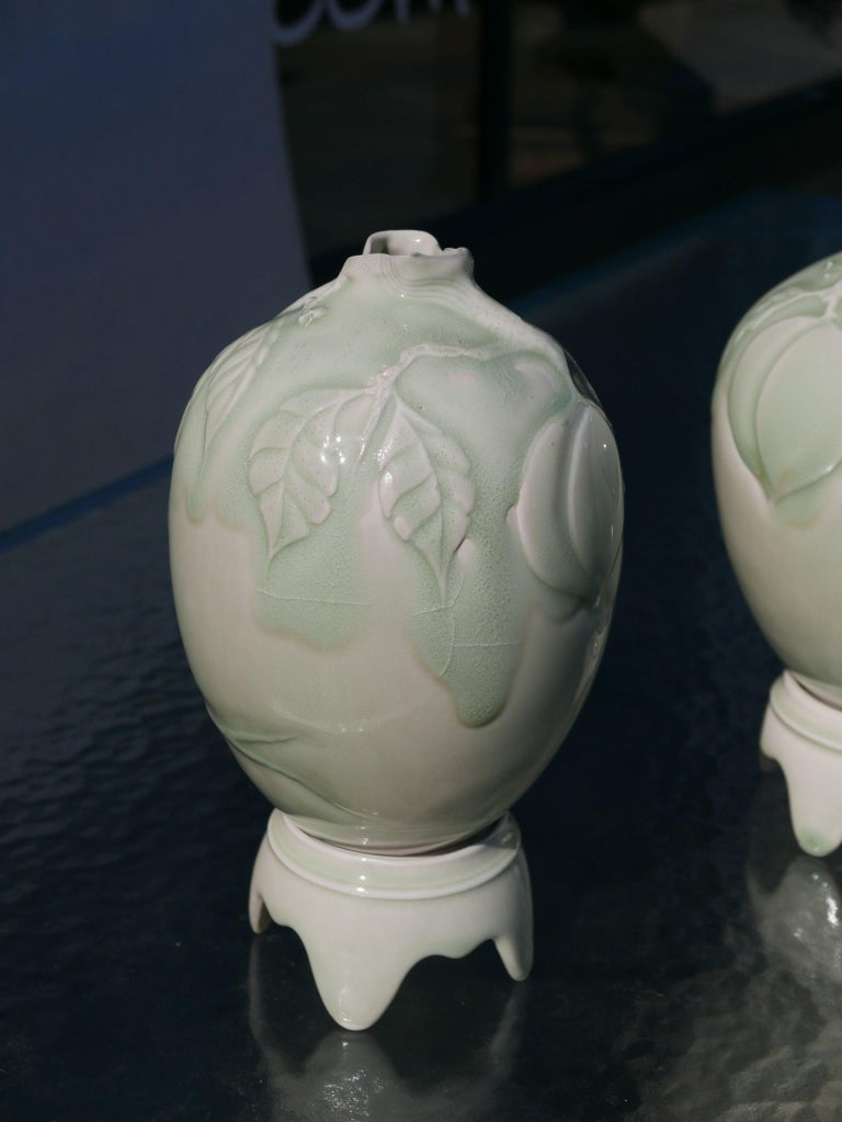 Pair of Celadon Vases on Pedestals by Cliff Lee For Sale 2