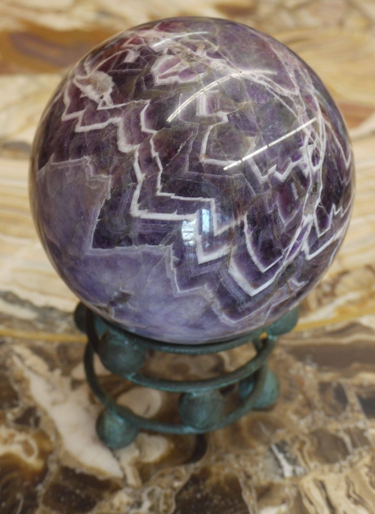 Carved 10 Pound Amethyst Sphere on Vintage Bronze Stand For Sale