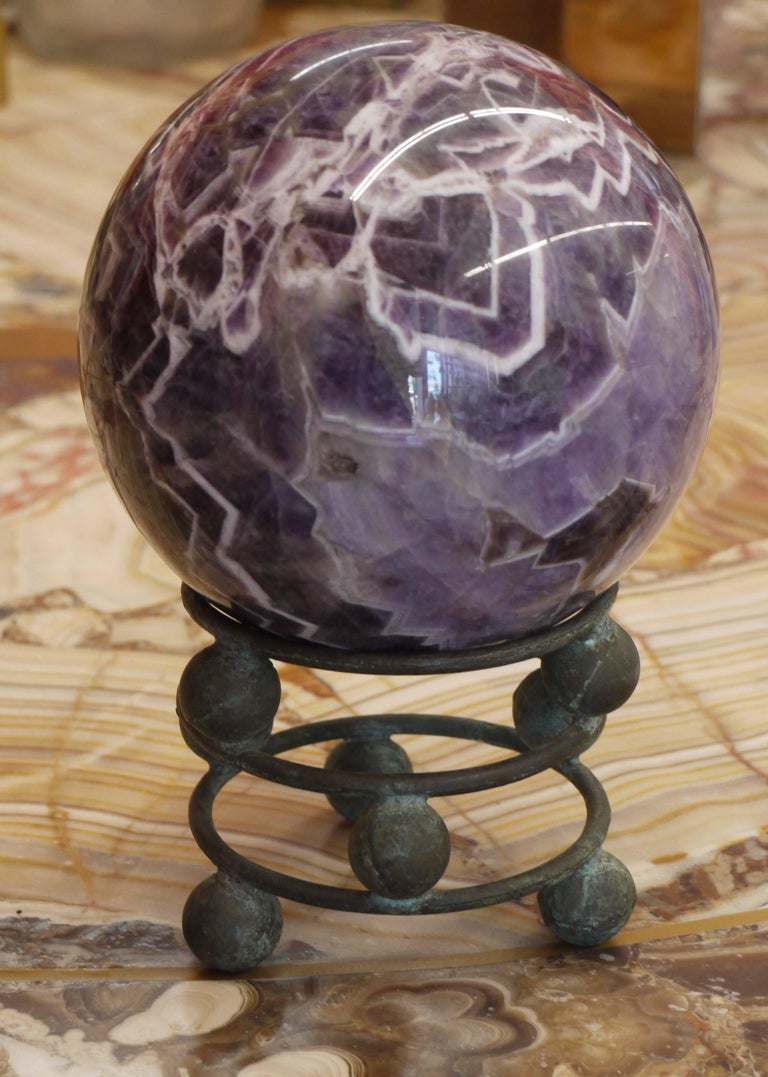 10 Pound Amethyst Sphere on Vintage Bronze Stand In Excellent Condition For Sale In Kilmarnock, VA