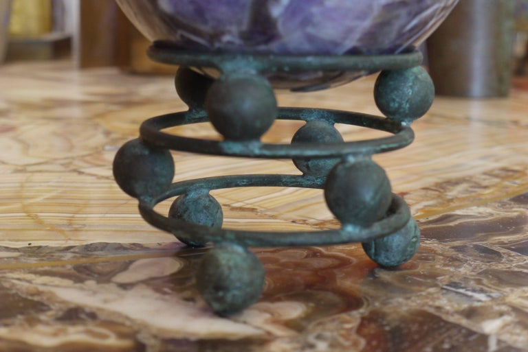 Unknown 10 Pound Amethyst Sphere on Vintage Bronze Stand For Sale