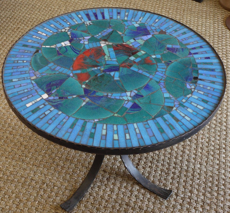 Mid-Century Modern 1950s Italian Forged Iron and Vitreous Glass Mosaic Table For Sale