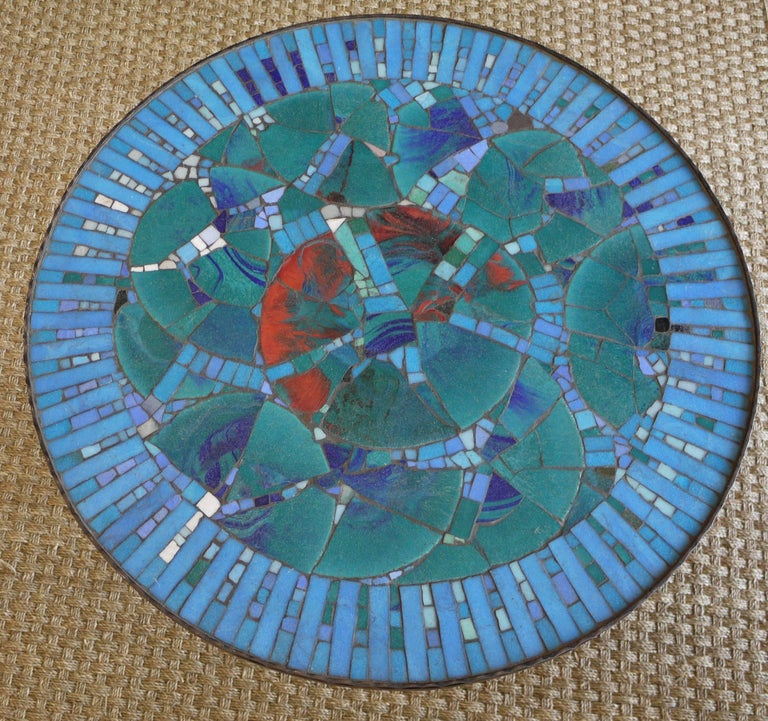 1950s Italian Forged Iron and Vitreous Glass Mosaic Table In Excellent Condition For Sale In Kilmarnock, VA