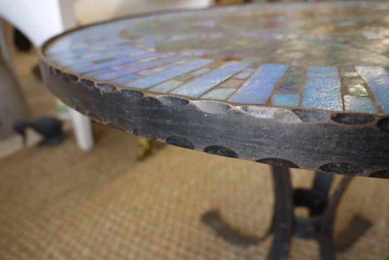 Mid-20th Century 1950s Italian Forged Iron and Vitreous Glass Mosaic Table For Sale