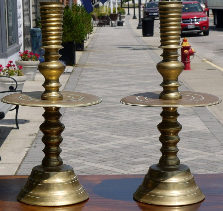 British Colonial Massive Pair of Early 19th Century Brass Candlesticks For Sale
