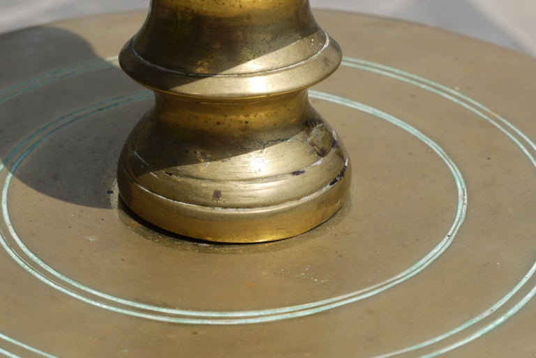 Massive Pair of Early 19th Century Brass Candlesticks For Sale 3