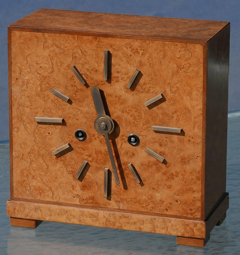 German Bauhaus Burl and Brass Mantle Clock, circa 1930s For Sale