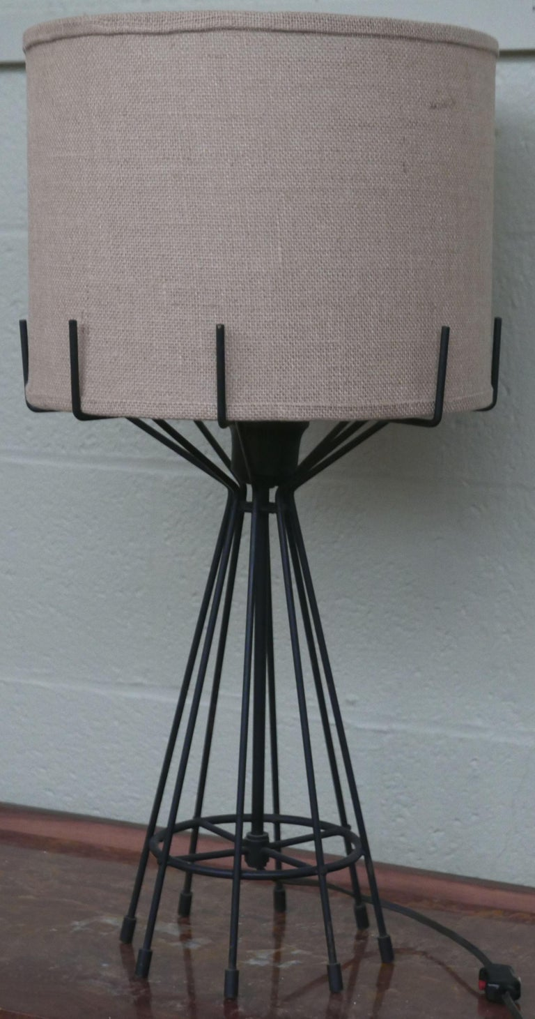 French Machined Steel and Brass Midcentury Lamp For Sale