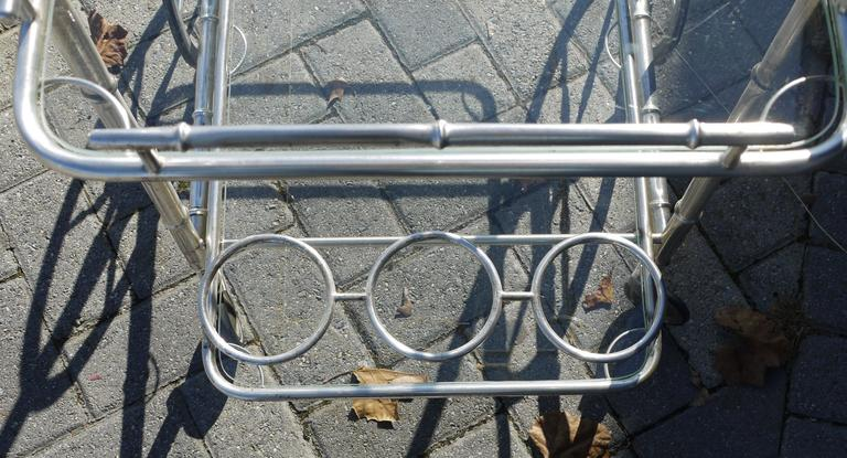 Italian Silver Plate over Brass Faux Bamboo Bar Cart In Excellent Condition For Sale In Kilmarnock, VA
