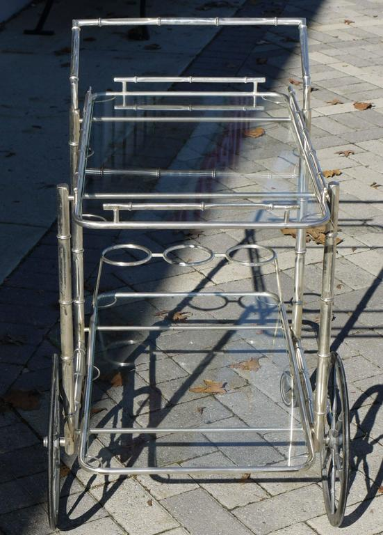 Glass Italian Silver Plate over Brass Faux Bamboo Bar Cart For Sale