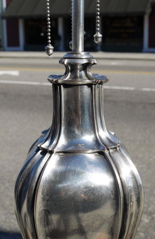 Plated Silvered Bronze Lamp Attributed to E.F. Caldwell For Sale