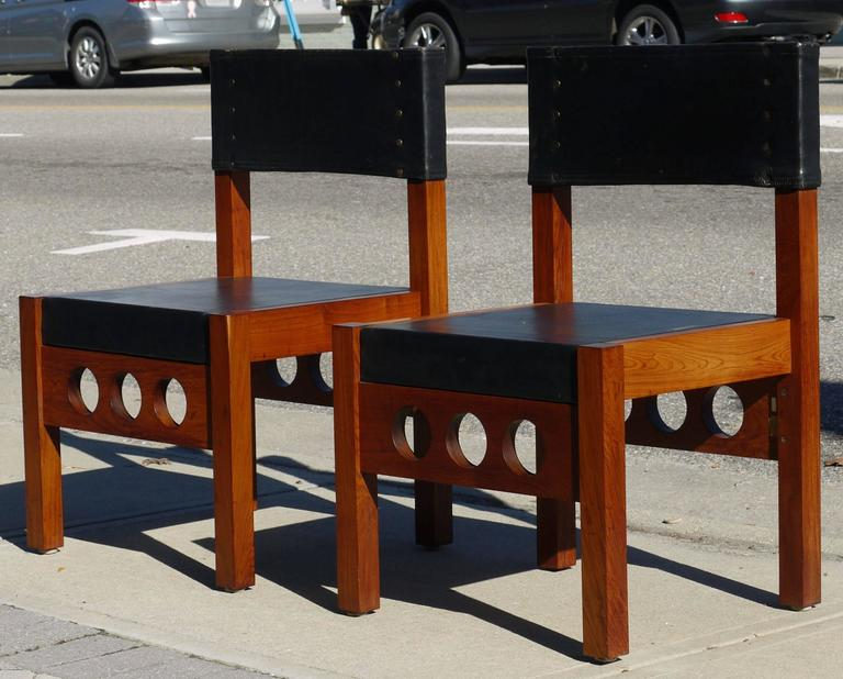 Pair of Brazilian Rosewood and Leather Chairs, Attributed to Sergio Rodrigues 2