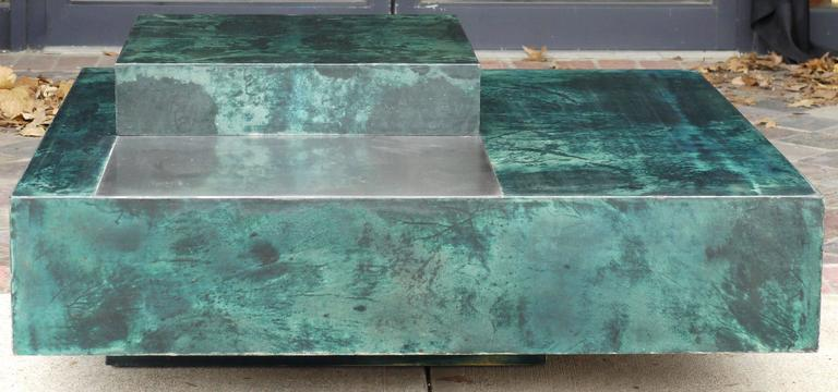 Absolutely stunning Aldo Tura square coffee table in emerald green dyed goatskin parchment with a polished lacquer finish, the table height is: 12
