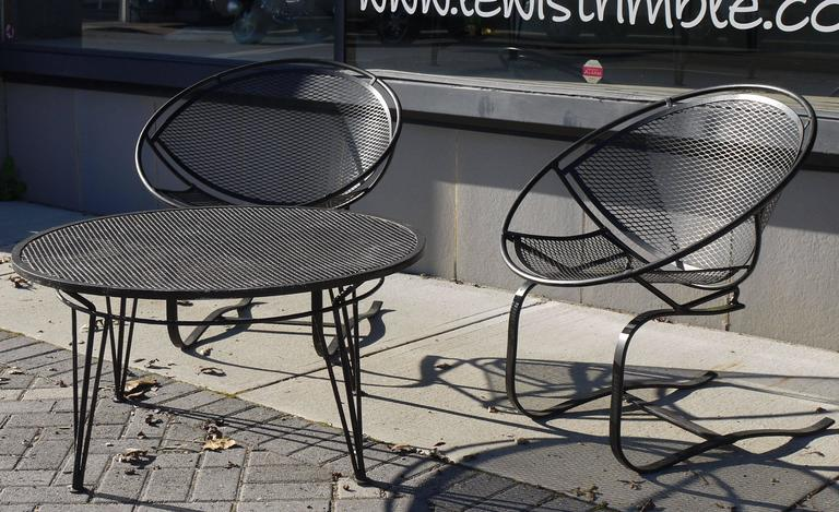 Pair of Salterini Springer Hoop Chairs and Table 7