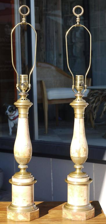 Pair of Late 19th Century French Faux Travertine Tole Lamps 2