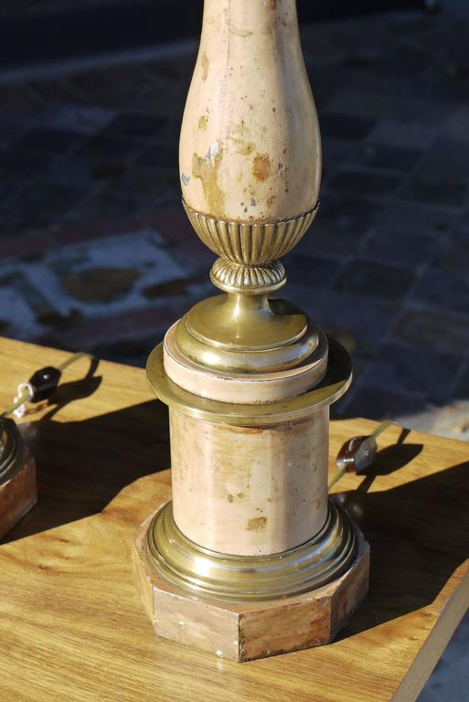 Pair of Late 19th Century French Faux Travertine Tole Lamps 5