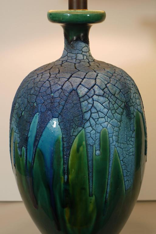 Pair of Lapis Blue and Emerald Green Crackled Lava Glaze Lamps 2