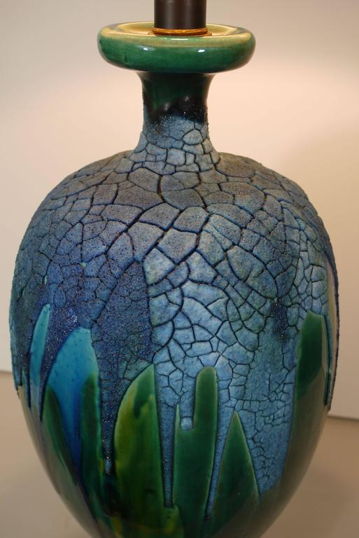 Pair of Lapis Blue and Emerald Green Crackled Lava Glaze Lamps 3