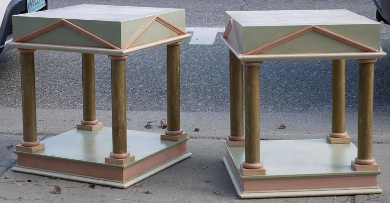 Pair of Neoclassical Inspired Post Modern Tables 3