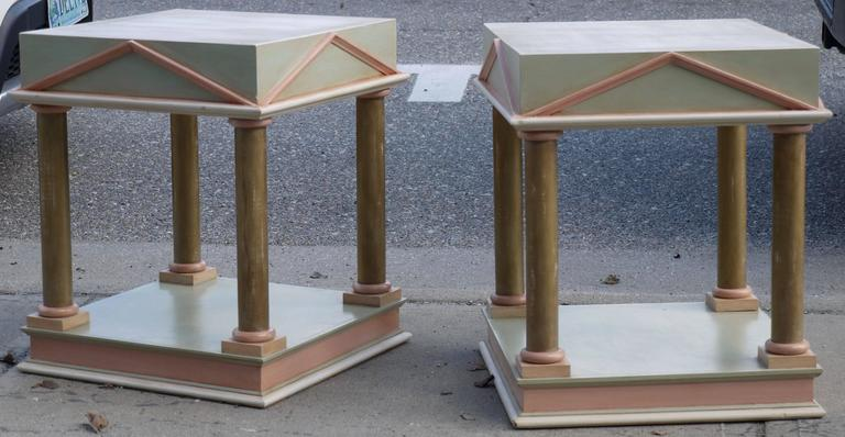 Pair of Neoclassical Inspired Post Modern Tables 4