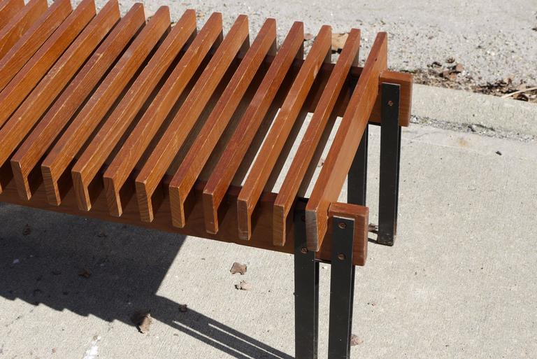 Slatted Teak Bench by Inge and Luciano Rubino for Apec 5