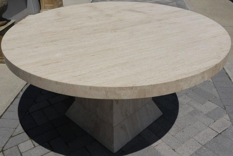 Modern Large Round Travertine Center Table For Sale
