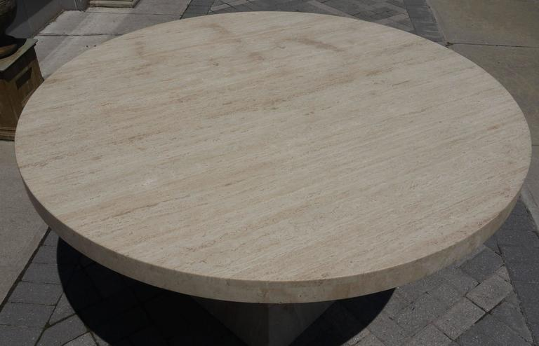 American Large Round Travertine Center Table For Sale