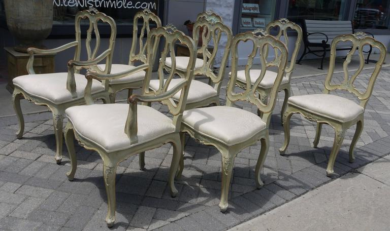Italian Set of Eight 19th Century Venetian Chairs For Sale
