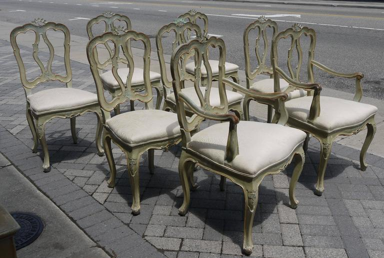 Mid-19th Century Set of Eight 19th Century Venetian Chairs For Sale