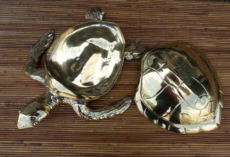 Lacquered Stunning Large Scale Brass Sea Turtle Box For Sale