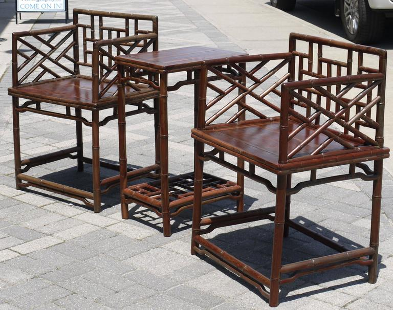 Pair of Chinese Faux Bamboo Chairs and Table Made from Rare Zhazhen Wood 2