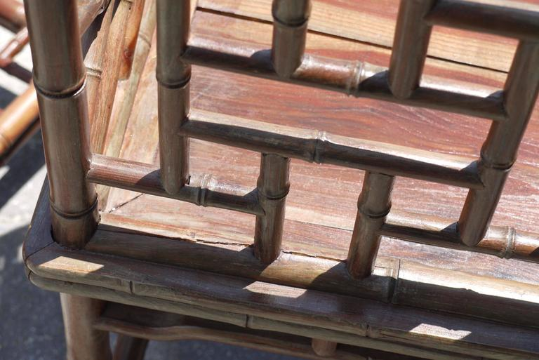 Pair of Chinese Faux Bamboo Chairs and Table Made from Rare Zhazhen Wood 7