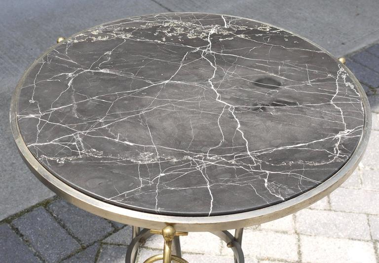 Neoclassical Italian Tripod Table in Brushed Nickel and Brass 2