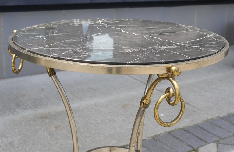 Neoclassical Italian Tripod Table in Brushed Nickel and Brass 6