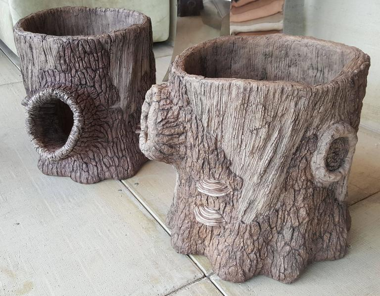 Large Companion Pair of Artisan Made Faux Bois Planters 2