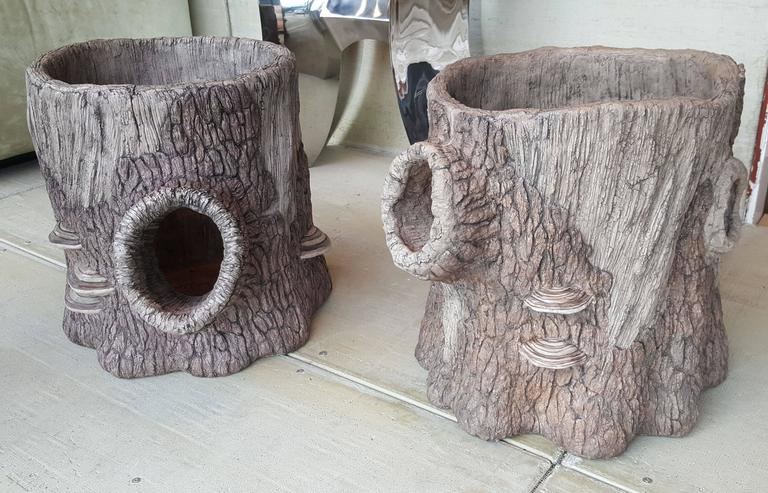 Large Companion Pair of Artisan Made Faux Bois Planters 3