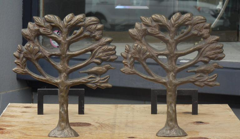 Pair of Bronze Diego Giacometti Style Andirons 2