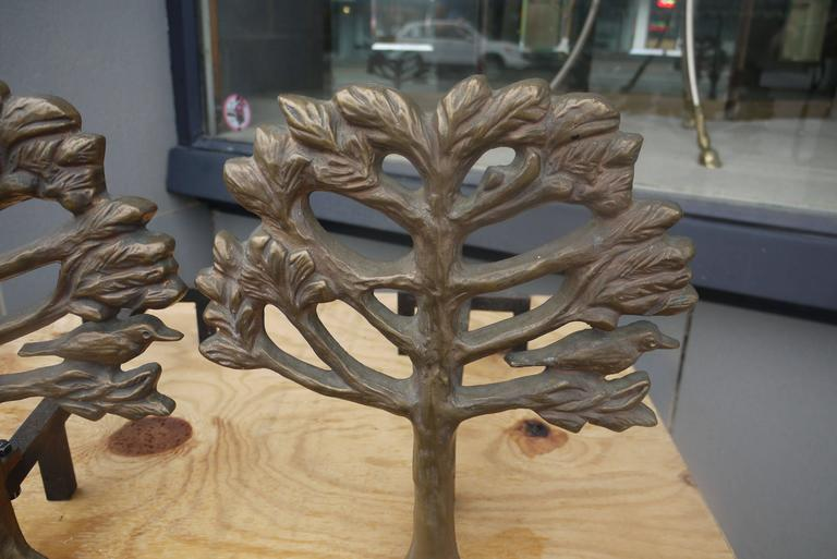 Pair of Bronze Diego Giacometti Style Andirons 3