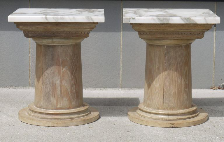 Pair of Vintage Cerused Oak Tapered Column Side Tables 2