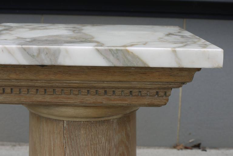 Pair of Vintage Cerused Oak Tapered Column Side Tables 4