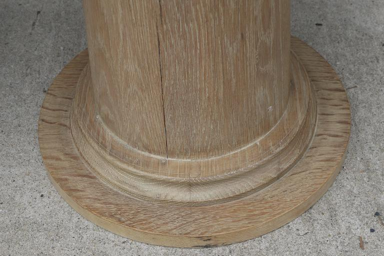 Pair of Vintage Cerused Oak Tapered Column Side Tables 5